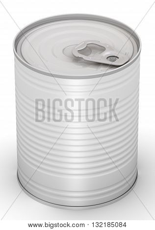 Tin can. Steel tin can without label on a white surface. Isolated. 3D Illustration
