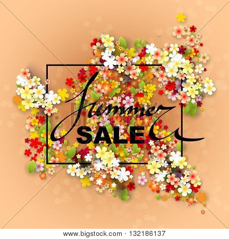 Summer Sale banner with paper flowers and black frame. Vector illustration.