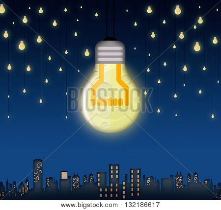 Illustration of moon and stars in shape of bulbs light over a city. Surreal background. Alternative energy concept