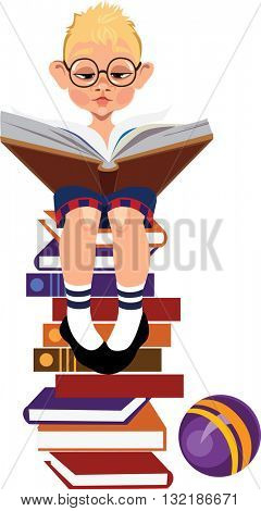 boy with a book, sitting on a pile of books