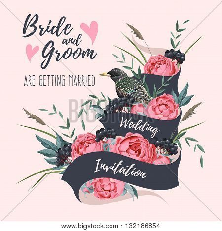 Vector wedding invitation with ribbon and flower