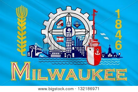 Flag of Milwaukee is the largest city in the State of Wisconsin and the fifth-largest city in the Midwestern United States