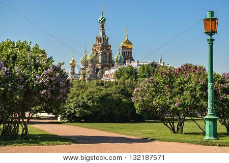 Church of the Savior on the Blood of Christ, or the Church of the Saviour on Spilled Blood in Saint-Petersburg, located on the banks of the Griboyedov Canal.