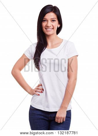 Smiling Woman In White T-shirt On White Background