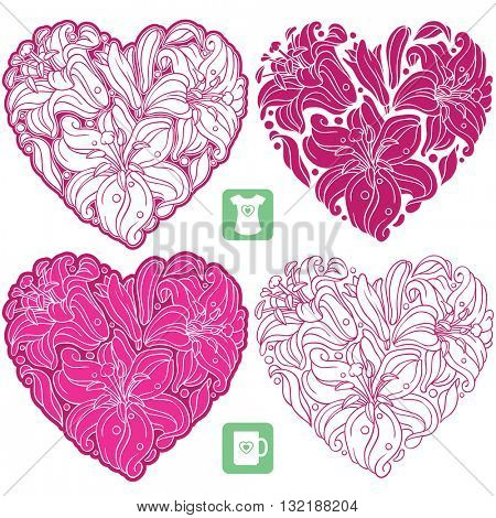 Vector set of lily pattern in the shape of heart