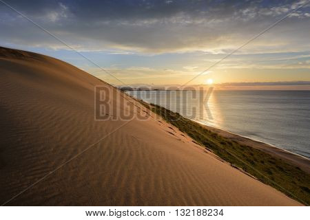 Sand dunes at Tottori, Japan along the Sea of Japan.