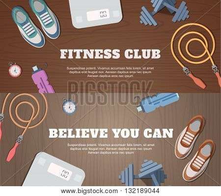 Set initial submissions with a wooden backdrop for fitness and sport. Vector set of tools
