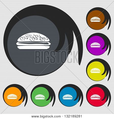Burger, Hamburger Sign Icon. Symbols On Eight Colored Buttons. Vector