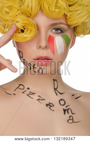 Beautiful woman with hair pasta and symbols of Italy isolated on white