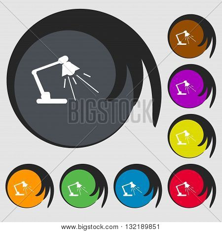 Reading-lamp Sign Icon. Symbols On Eight Colored Buttons. Vector