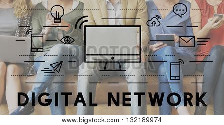 Digital Network Communication Connection Technology Concept