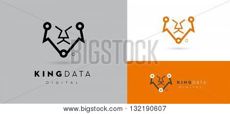 CONCEPTUAL VECTOR LOGO / ICON OF A LION INCORPORATED WITH DIGITAL CIRCUIT