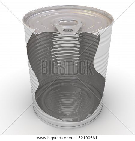 Tin can with a cross-section. Steel tin can with a cross-section on a white surface. Isolated. 3D Illustration
