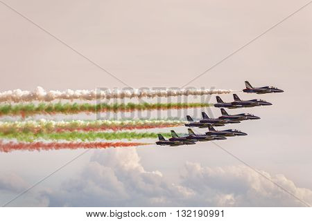 Bologna, Italy - June 21, 2015: Italian tricolor arrows at airshow