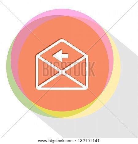 mail left arrow. Internet template. Vector icon.