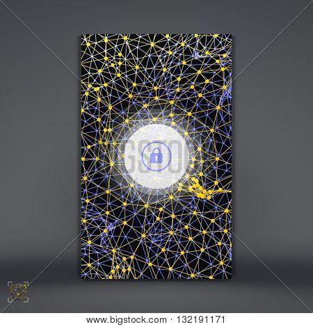 Modern Lock Screen for Mobile Apps. Smartphone with Closed Lock. 3d Grid Background. Abstract Geometric Vector Illustration.