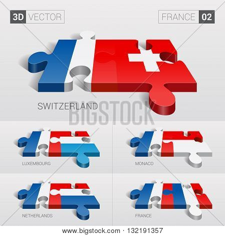 France and Switzerland, Luxembourg, Monaco, Netherlands, France Flag. 3d vector puzzle. Set 02.