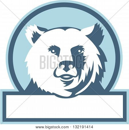Illustration of a California grizzly North American brown bear head smiling viewed from front set inside circle on isolated background done in retro style.