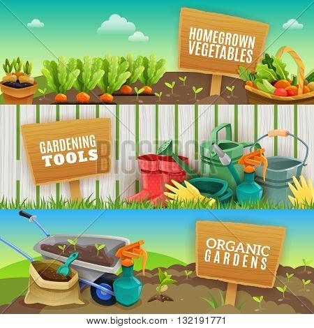 Three colorful gardening horizontal banners with farming tools homegrown vegetables in garden beds and organic fertilizer in handcart flat vector illustration