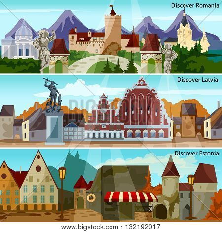 European Cityscapes Flat Concept. Europe And Sights Horizontal Banners. European Cities Vector Illustration. European Countries Isolated Set. European Cityscapes Design Symbols.