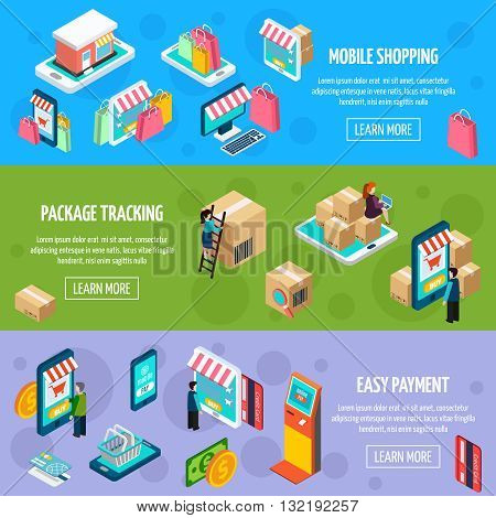 Mobile shopping isometric horizontal banners with payment and package tracking isometric isolated vector illustration