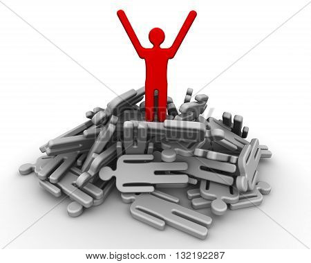 Winner on a pile of defeated. Red symbol of man on top of the pile from the losers. Concept of winning. 3D Illustration
