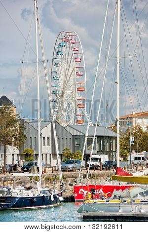 FRANCE LA ROCHELLE - SEPTEMBER 21: big ferris wheel in La Rochelle port on September 21 2015