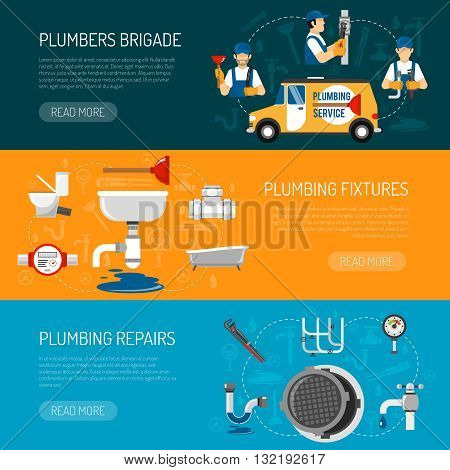 Plumbing horizontal banners set with brigade of repairmen tap sewer plunger bath sink toilet isolated vector illustration
