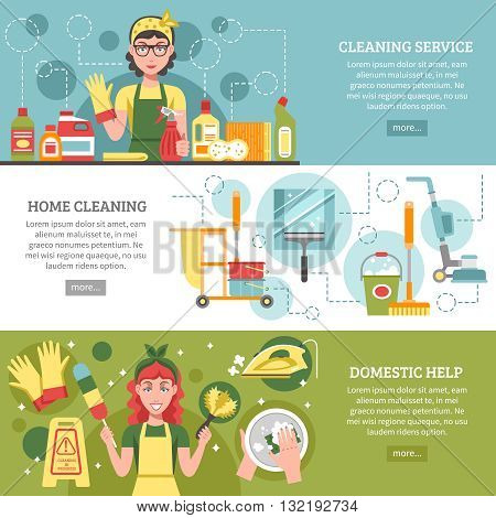 Three different banners on cleaning service theme with titles like cleaning service home cleaning and domestic help vector illustration