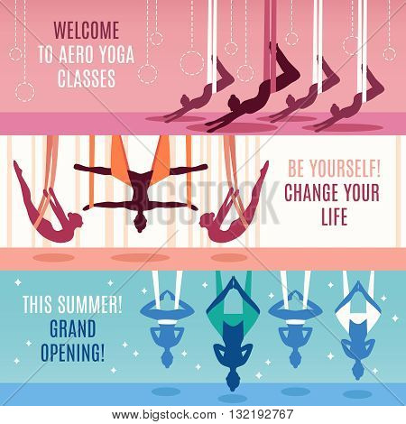 Three aero yoga horizontal banner set with descriptions of to aero yoga classes change your life and grand opening vector illustration