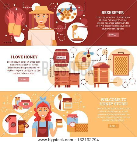 Three horizontal colored beekeeping banner set with descriptions of I love honey and welcome to honey store vector illustration