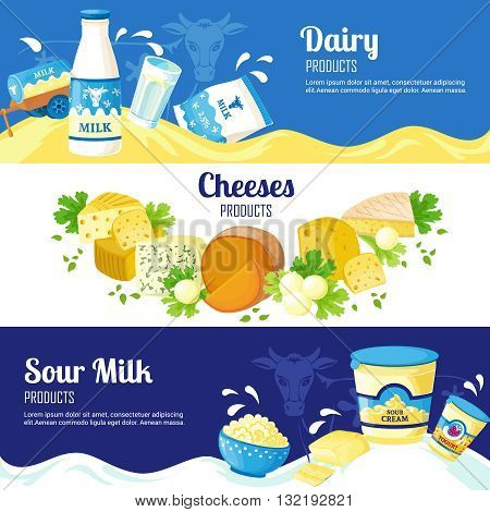 Dairy products horizontal banners with advertising of different cheeses sour cream and milk flat vector illustration