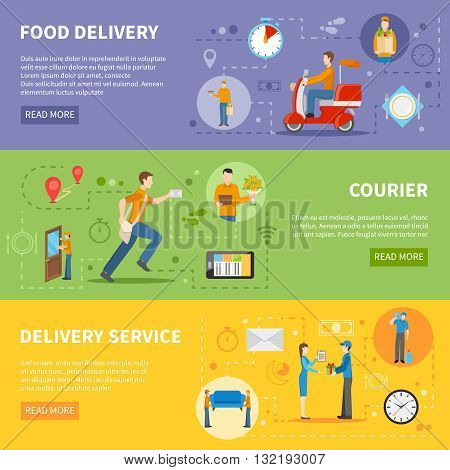 Delivery service and courier people delivering various goods horizontal colorful banners flat vector illustration