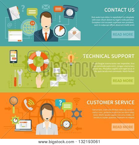 Contact us customer support banners of online and offline technical and other support services flat vector illustration