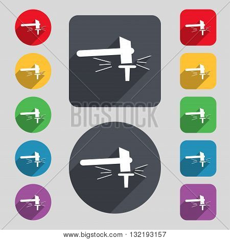 The Smithy. Forge And Stithy, Blacksmith Icon Sign. A Set Of 12 Colored Buttons And A Long Shadow. F