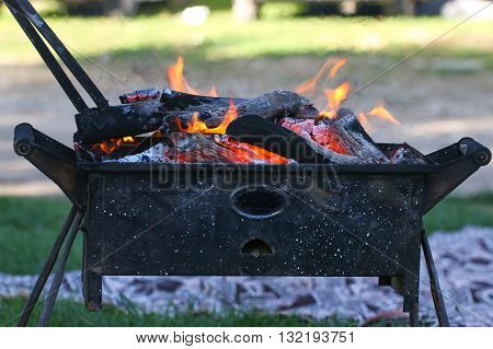 Grill. Light on the nature. Wooden fire. Wood fire prepared for barbecue.