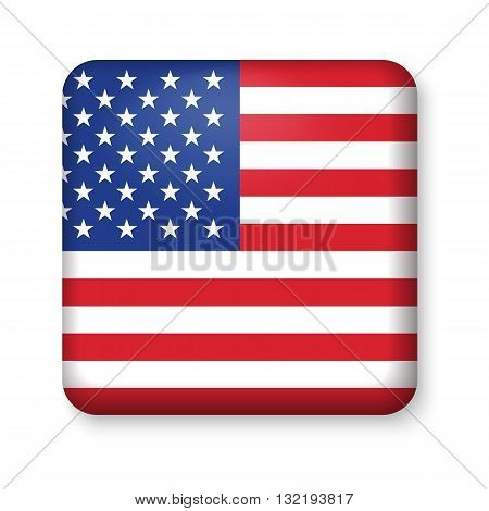 American United States Flag in glossy square button of icon. USA emblem isolated on white background. National concept sign. Independence Day Symbol. 4 July freedom patriotic banner with pride color