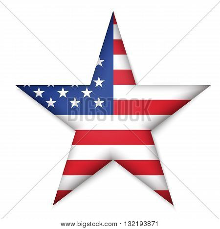 American United States Flag in glossy star button of icon. USA emblem isolated on white background. National concept sign. Independence Day Symbol. 4 July freedom patriotic banner with pride color