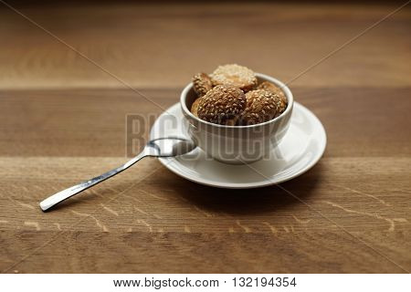 Homemade cookies with sesame seeds. Breakfast cookie. Dessert cookies. Cookies. Cookie. Tea cup