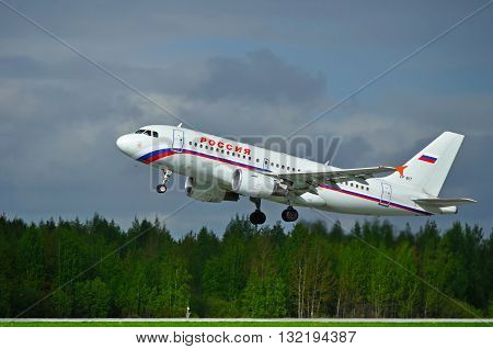 ST PETERSBURG RUSSIA - MAY 11 2016. VP-BIT Rossiya Airbus A319 airplane is ready for taking off from the runway of Pulkovo International airport