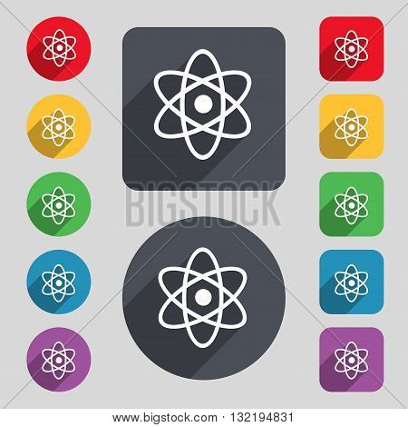 Atom, Physics Icon Sign. A Set Of 12 Colored Buttons And A Long Shadow. Flat Design. Vector