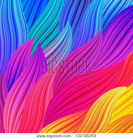 Bright Rainbow Colored Background with Waves. Abstract Colorful Exotic Bg. Floral Spectrum Pattern. Vector Texture for Posters Screens Web Banners.