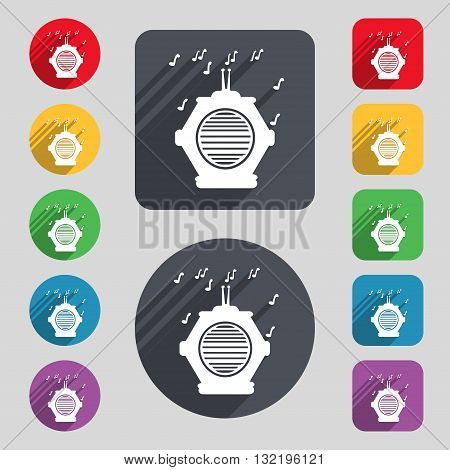 Old Analog Radio Icon Sign. A Set Of 12 Colored Buttons And A Long Shadow. Flat Design. Vector