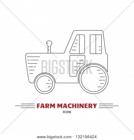 Line icon of tractor on white background. Farm machinery icon. Tractor vector logo design template. Harvesting theme. Agricultural tractor transport for farm