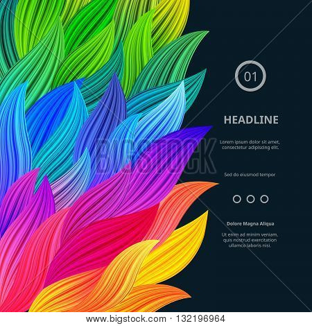 Awesome Bright Colorful Borders. Vector Gradient Background. Vibrant Rainbow Splash. Abstract Texture for Posters Cards Screen Wallpapers etc.