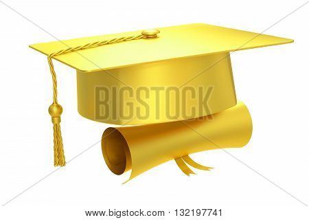Golden graduation cap diploma 3D rendering isolated on white background
