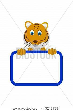 Wild animal tiger with a blank board.