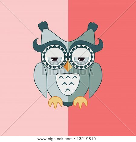 Sleepy grey cute flat isolated owl on pink background
