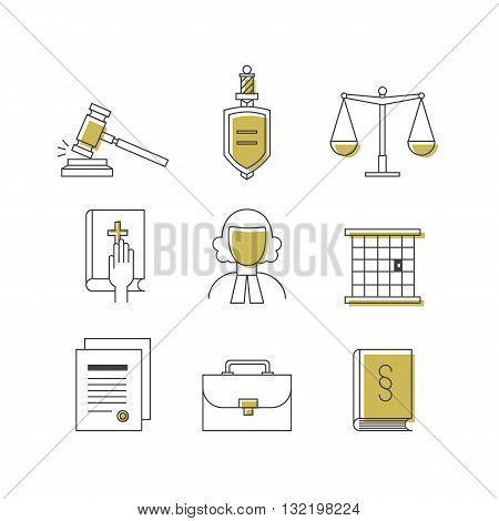 Law and justice icon set suitable for info graphics, websites and print media. Black and white flat line icons. Eps10