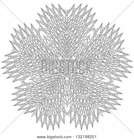 Linear abstract pattern in techno style. Black lines on white background, vector illustration